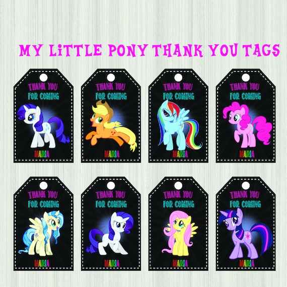 My Little Pony Thank You Tags My Little Pony Gift Tags My
