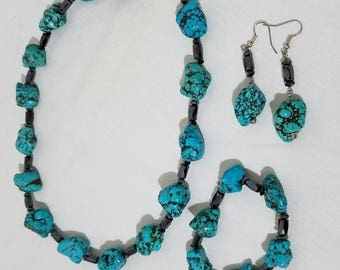 Turquoise Nugget Set w/ Magnetic Hematite Spacers, Chunky Turquoise, Turquoise Jewelry Set, Necklace, Earrings, Bracelet, Boho Style, Hippie