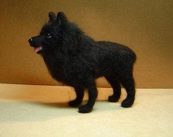 Schipperke Custom Dog realism needle felted pet portrait sculpture