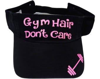 "NEW! Neon Pink Glitter ""Gym Hair Don't Care"" Black Cotton Visor Fitness"