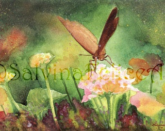 """Fine art print, from my watercolor painting """"Flower in Blossom"""", watercolor painting, art, floral art print, green painting"""
