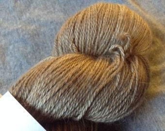 "Indulgence BASE ""Black Walnut"" 70/20/10 Light Grey Alpaca/Silk/Nylon Sock Weight 437 yards/100g"