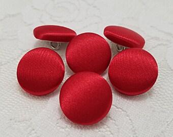 Satin Buttons, Red Buttons, Shank Buttons, Pinback Buttons, Brooch Pin, Handmade Covered Buttons, Sewing Buttons, Wedding Dress Buttons