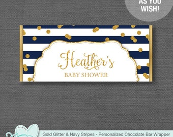 Gold Glitter and Navy Stripes Personalized Candy Bar Wrapper Printable, Chocolate Wrapper, Hersheys Wrapper, Baby Shower, Birthday Party, 1G