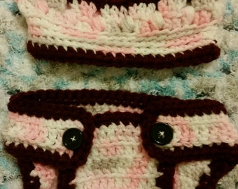 Newborn Diaper Covers with Matching Hats