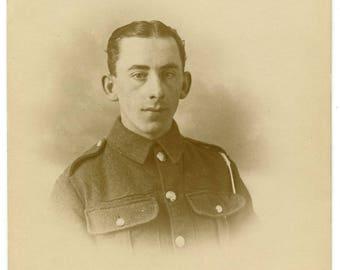 1917 WW1 British Soldier Real Photo Postcard Antique RPPC Vintage Edwardian War Military Uniform