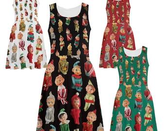Retro Elves Skater Dress - printed flared tank dress - knee-hugging elves - photographic elf dress - USA XS-3XL