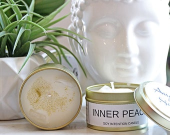 Inner Peace Quartz Gemstone Meditation Candle | Travel Size Soy Zen Candle | Peaceful Yoga Candle |  Chakra Candle | Good Vibes Candle