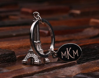 Personalized Monogrammed Eiffel Tower Key Chain for Women, Girlfriend, Birthday Mother's Day Gift Idea with Wood Gift Box