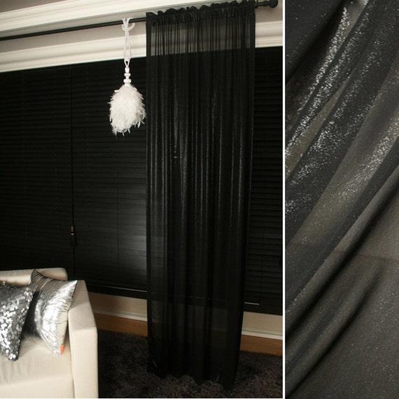 Shiny Black Sheer Glitter Chiffon Curtain Plain Voile
