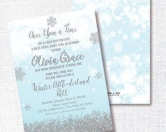 Once Upon A Time Birthday Invitation, Printable, Winter One-derland Invite, Blue, Aqua, Silver Glitter, 1st, First, Fairytale, Storybook