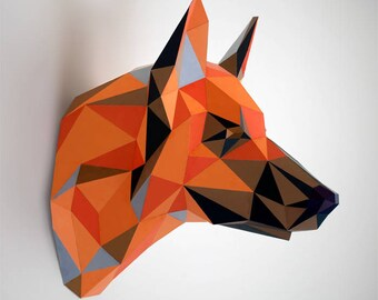 German Shepherd dog papercraft | DIY faux taxidermy wall mount | 3D papercraft sculpture | Printable PDF pattern | Low poly animal assembly