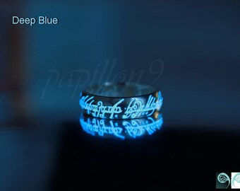 Sterling Silver One Ring / Glow in the Dark / Lord of the Rings / LOTR / Elven Ring / Precious ring / Silver 925 Ring /