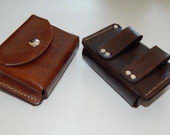 Leather belt pouch, hand made in USA, great for hiking camping backpack bushcraft survival gear, space for Altoids tin plus more