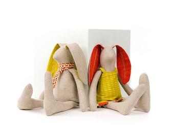 A pair of rabbit dolls Stuffed bunny dolls Plush rabbit doll Linen Handmade dolls Set of 2 dolls Nursery decor Heirloom gift SMALL Rabbits