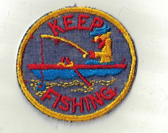 Keep Fishing Boat Man Colorful Retro 70's Vintage Sewing Patch Applique