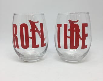 Alabama roll tide wine glass set