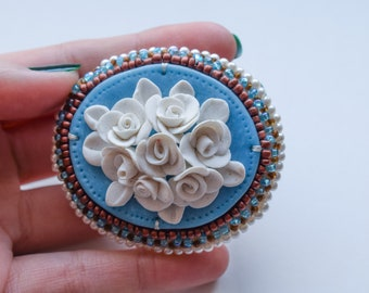 Handmade brooch with roses pin jewelry gift wedding beaded embroidery big blue brown gold clip floral bright turquoise blue glamour sweet
