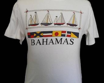 Vintage 80s Bahamas T-shirt, 1980s Bahamas Nautical Souvenir Crewneck Tee, Men's Size Medium to Large