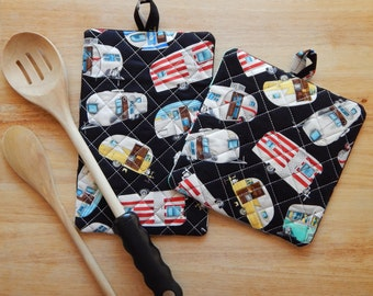 Airstream & Travel Trailer Pot Holders - Camper Pot Holders - Camping Pot Holders - Hot Pads - Trivet - Oven Mitt - Camping Decor - Campers