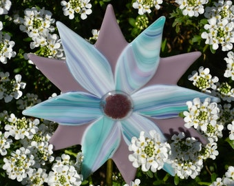 Flower Plant Stake, Fused Glass, Gardeners Gift, Garden Art, Yard Art, Home Decor, Housewarming Gift, Mother's Day Gift