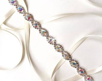 Sash - Infinity Aurora Borealis (AB) Crystal Bridal Sash - White Ivory Silver Satin Ribbon - Rhinestone Wedding Dress Thin Belt or Headband