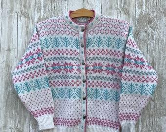 VINTAGE Norwegian style wool sweater cardigan LL BEAN