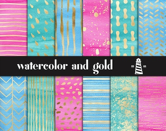 Watercolor And Gold Digital Paper, Hand Painted Gold Patterns, Watercolor Backgrounds, Wedding Invitation Papers, BUY5FOR8