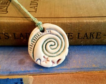 Ceramic Essential Oil Diffuser Spiral Necklace, Handmade Porcelain Aromatherapy Jewelry, Adjustable Green