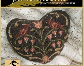 Valentine Bleed Heart Blush Punchneedle Pattern Needle Punch