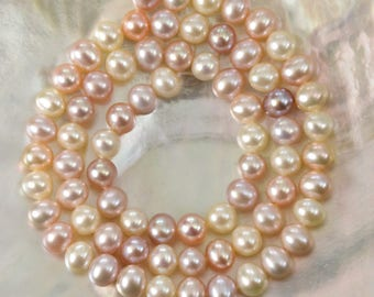 """15.86"""" FRESHWATER PEARLS Strand Lustrous Multi-Color Potato Nugget China 21.18 g"""