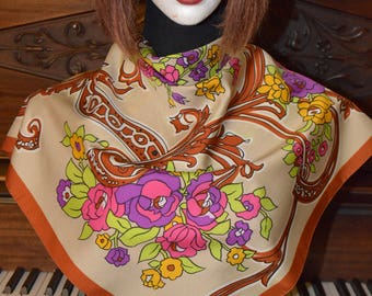 Colorful floral Italian vintage scarf