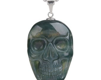 34-36mm Moss agate carved skull pendant focal bead (pendant only)