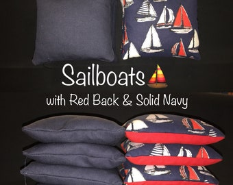 Sailboats with Solid Navy & Red