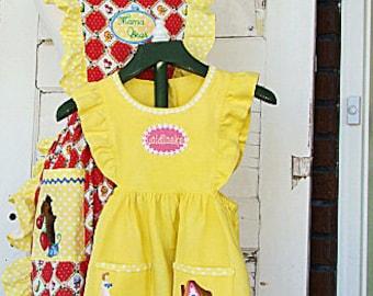 Goldilocks Pinafore Dress Yellow Linen Embroidered Goldilocks and 3 Bears Apron or Dress