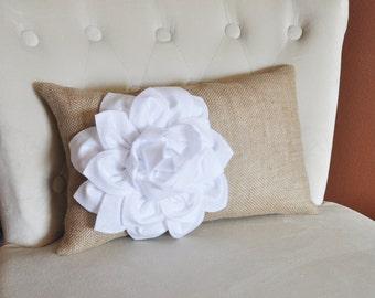 Decorative Lumbar Pillow White Dahlia on Burlap Lumbar Pillow 9 x 16 Burlap Home Decor