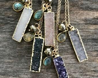 Druzy Bar Necklace, Drusy Necklace, Gemstone Necklace, Bar Necklace, Gemstone Bar Necklace, Druzy Quartz Jewelry, Raw Stone Necklace