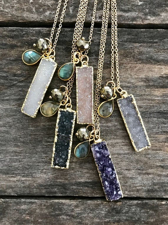 Druzy Bar Necklace Drusy Necklace Gemstone Necklace Bar