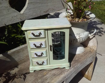 Vintage Jewelry Box Up-cycled shabby chic Armoire  Green with Decoupage