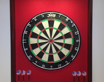 LED Lighted Red & Mahogany Colored Trim Dart Board Backboard/Surround   w/DMI Staple-Free Sisal Board- For Game Room, Man Cave Gift Idea