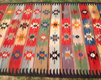 "Kilim rug, area rug, Vintage Turkish kilim rug, 131"" X 66"", Colorful area rug, kelim rug, soft colored rug, vintage rug, vintage Turkish,704"