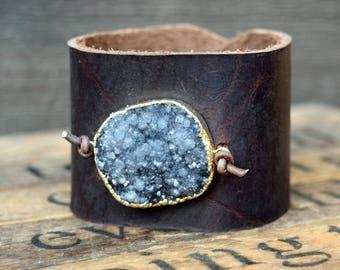 Grey Druzy & Leather Cuff Bracelet