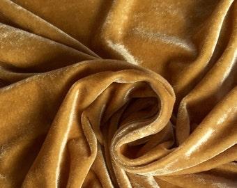 SALE 20% Gold Velvet Fabric, Dress Strech velvet, Commercial Fabric, Curtain Fabric, Fashion Velvet, Upholstery Decorative Fabric DVG06
