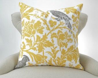 YELLOW Bird Pillow Cover -MANY SIZES- Barber White Kelp taupe floral parrot Premier Prints throw cushion Euro sham decorative decorator