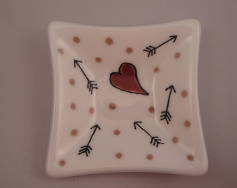 Valentine Fused Glass Hearts and Arrows ring/Trinket Dish - 04105