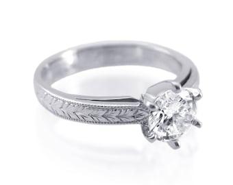 Engagement ring, Unique Engagement ring, Solitaire diamond engagement ring, Solitaire ring, Modern engagement ring, Modern diamond ring