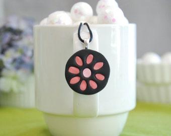 Pretty posy!  Peach Polymer clay inlay pendant necklace.