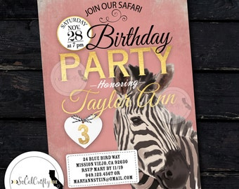 White Tiger Birthday Party Invitation Zoo Invite Safari