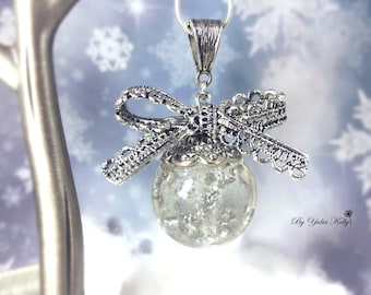 Sphere necklace, Nature pendant, Resin necklace, Christmas necklace, Festive necklace, Sphere with silver powder, Antique Silver  Necklace