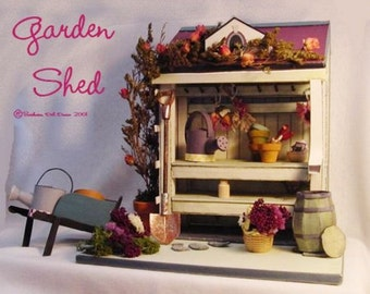 """Dollhouse,Garden Shed miniature 1"""" Scale, Printable Miniature, Garden Shed for doll house, Minis, one inch scale,"""